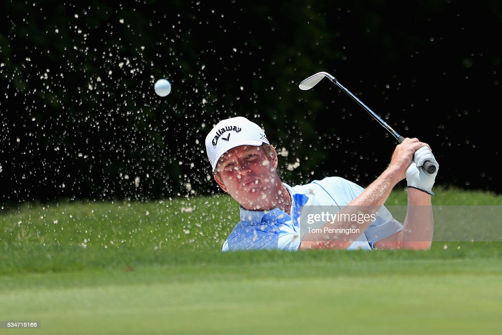 Derek Fathauer hits a shot out of the sand on the 11th hole during the Second Round of the DEAN & DELUCA Invitational at Colonial Country Club on May 27, 2016 in Fort Worth, Texas.