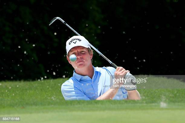 Derek Fathauer hits a shot out of the sand on the 11th hole during the Second Round of the DEAN DELUCA Invitational at Colonial Country Club on May...