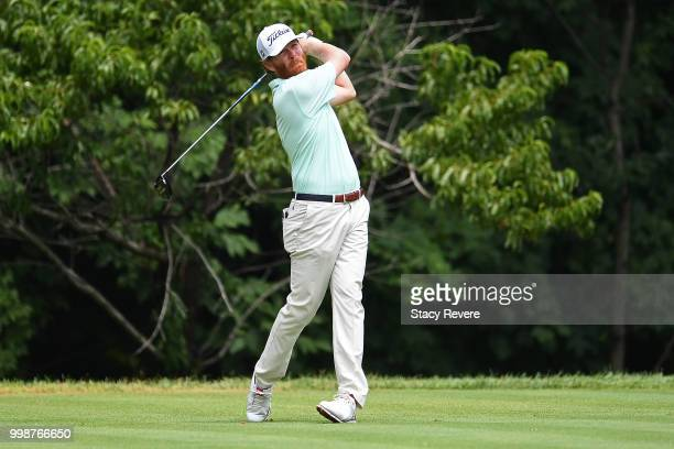 Derek Fathauer hits his tee shot on the second hole during the third round of the John Deere Classic at TPC Deere Run on July 14 2018 in Silvis...