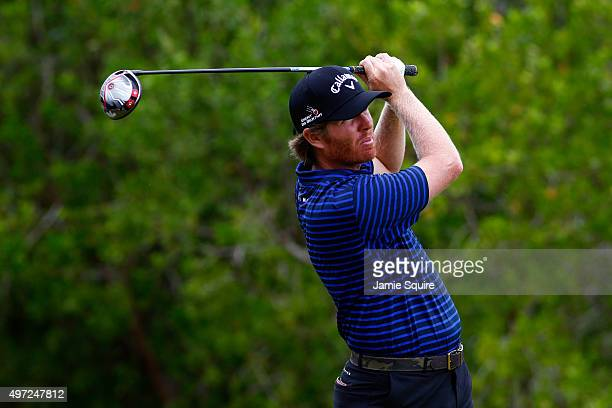 Derek Fathauer of the United States hits his first shot on the 2nd hole during the final round of the OHL Classic at the Mayakoba El Camaleon Golf...