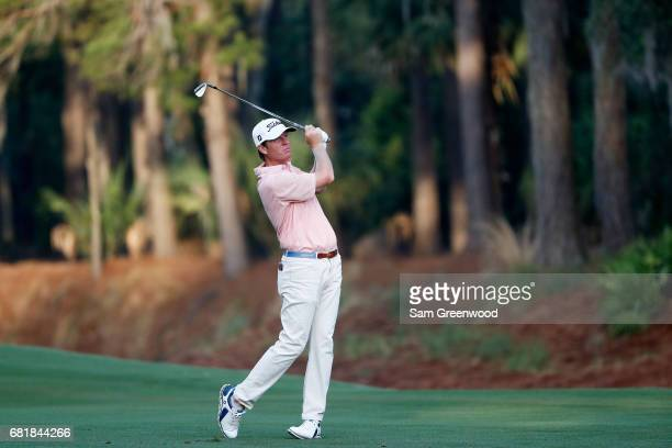 Derek Fathauer of the United States plays a shot on the tenth hole during the first round of THE PLAYERS Championship at the Stadium course at TPC...