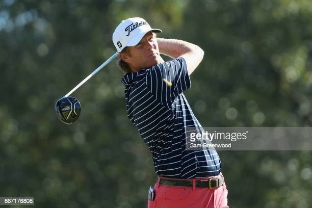 Derek Fathauer of the United States plays a tee shot on the fifth hole during the second round of the Sanderson Farms Championship at the Country...