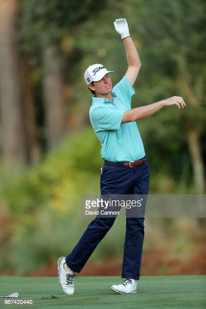Derek Fathauer of the United States plays his second shot on the par 4 10th hole during the second round of the THE PLAYERS Championship on the...