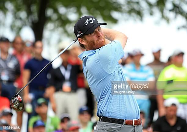 Derek Fathauer of the United States plays his shot from the first tee during the final round of the RBC Canadian Open at Glen Abbey Golf Club on July...