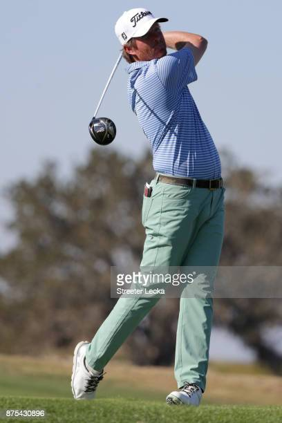 Derek Fathauer of the United States plays his tee shot on the 16th hole during the first round of The RSM Classic at Sea Island Golf Club Seaside...