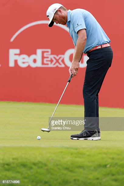 Derek Fathauer of the United States putts on the 18th hole during day one of the 2016 CIMB Classic atthe TPC Kuala Lumpur on October 20 2016 in Kuala...