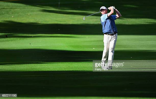 Derek Fathauer plays his second shot on the second hole during the second round of the CareerBuilder Challenge in Partnership with The Clinton...