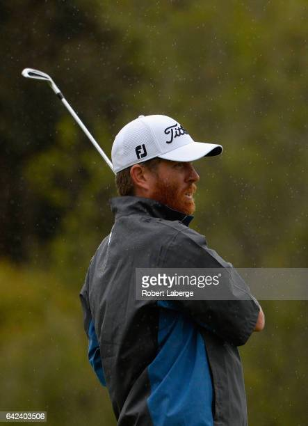 Derek Fathauer plays his shot from the 14th tee during the second round at the Genesis Open at Riviera Country Club on February 17 2017 in Pacific...