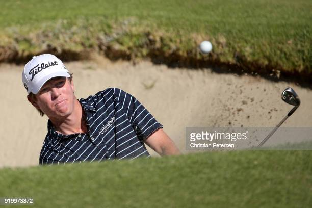 Derek Fathauer plays his shot from the bunker on the first hole during the final round of the Genesis Open at Riviera Country Club on February 18...