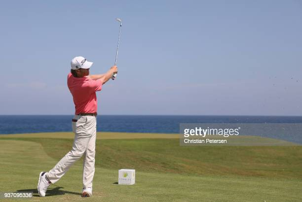 Derek Fathauer plays his shot from the ninth tee during round two of the Corales Puntacana Resort Club Championship on March 23 2018 in Punta Cana...
