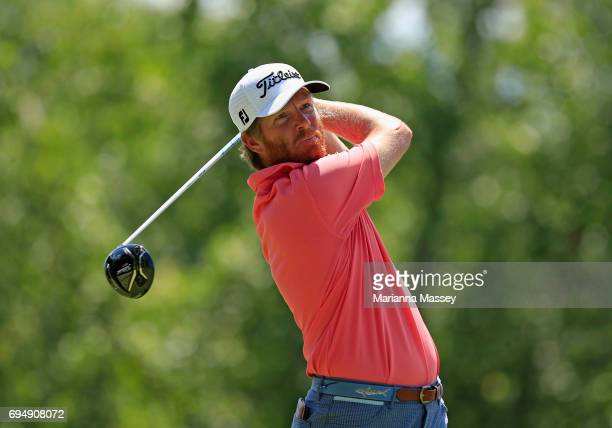 Derek Fathauer plays his shot from the second tee during the final round of the FedEX St Jude Classic at the TPC Southwind on June 11 2017 in Memphis...