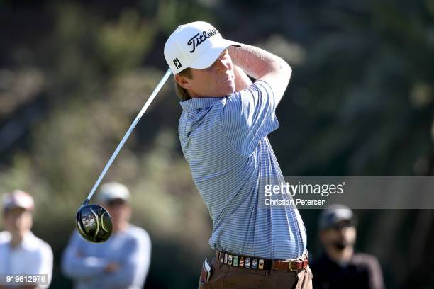 Derek Fathauer plays his shot from the second tee during the third round of the Genesis Open at Riviera Country Club on February 17 2018 in Pacific...