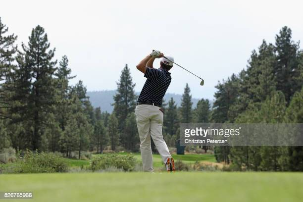 Derek Fathauer plays his shot from the third tee during the third round of the Barracuda Championship at Montreux Country Club on August 5 2017 in...