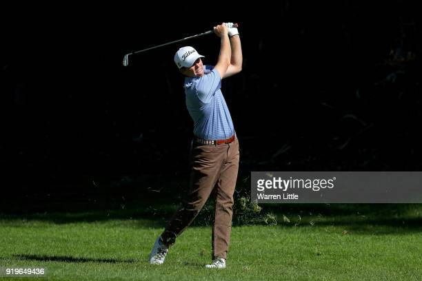 Derek Fathauer plays his shot on the 12th hole during the third round of the Genesis Open at Riviera Country Club on February 17 2018 in Pacific...