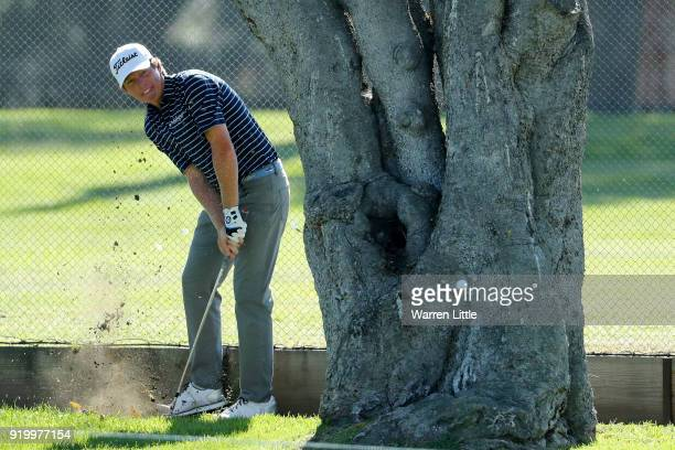 Derek Fathauer plays his shot on the second hole during the final round of the Genesis Open at Riviera Country Club on February 18 2018 in Pacific...