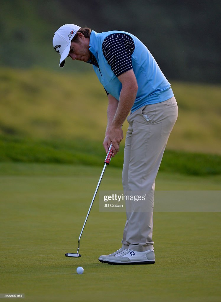 Derek Fathauer putts on the seventh hole during round one of the Northern Trust Open at Riviera Country Club on February 19, 2015 in Pacific Palisades, California.