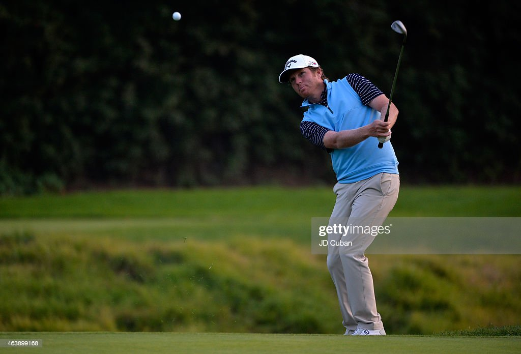 Derek Fathauer takes his third shot on the seventh hole during round one of the Northern Trust Open at Riviera Country Club on February 19, 2015 in Pacific Palisades, California.