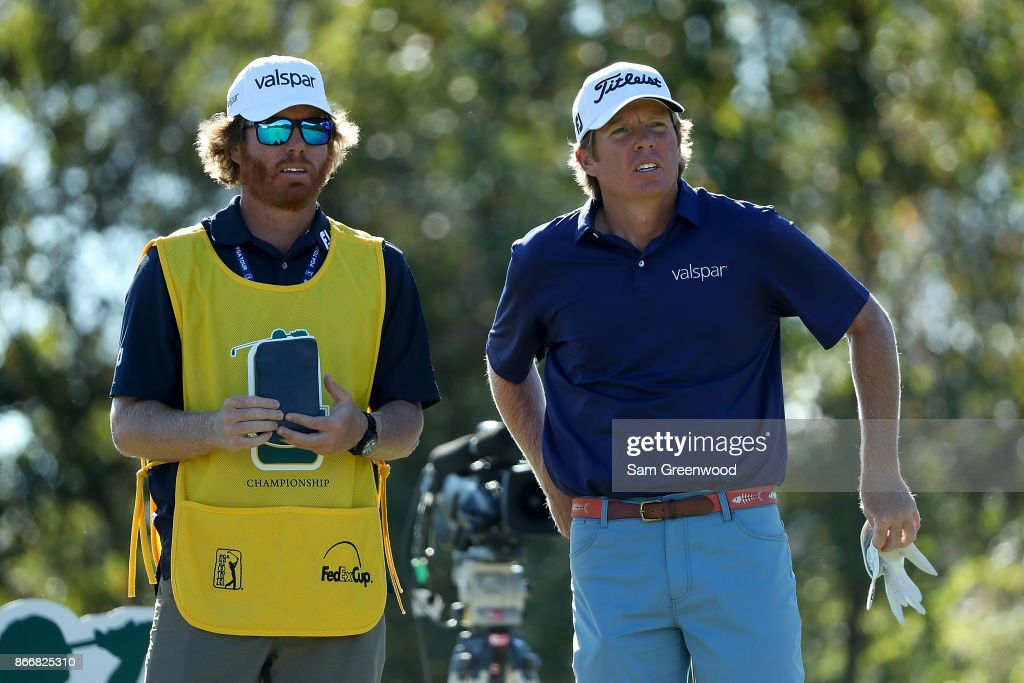 Derek Fathauer talks with his caddie on the 13th hole during the First Round of the Sanderson Farms Championship at the Country Club of Jackson on October 26, 2017 in Jackson, Mississippi.