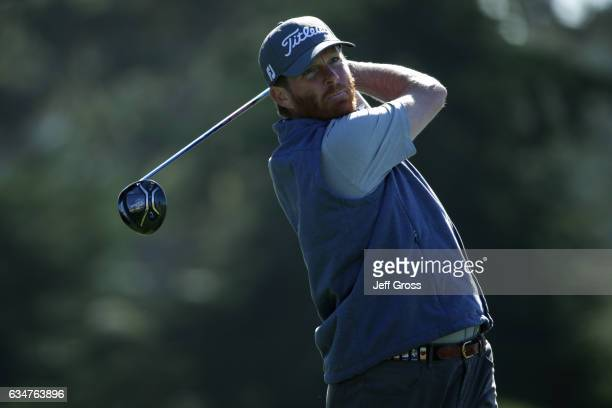 Derek Fathauer watches his tee shot on the sixth hole during Round Three of the ATT Pebble Beach ProAm at Monterey Peninsula Country Club on February...