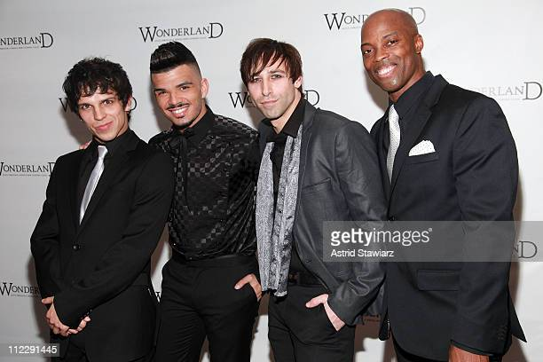 Derek Ferguson Julius Anthony Rubio Joey Calveri and Stefan Raulston attend the after party for the Broadway opening night of Wonderland Alice...