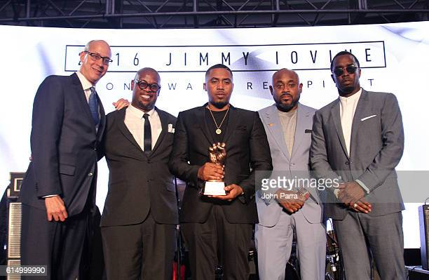 Derek Ferguson, REVOLT Media COO, Andre Harrell, REVOLT Vice Chairman and Chair of the REVOLT Music Conference, Nas, Steve Stoute, and Sean 'Diddy'...