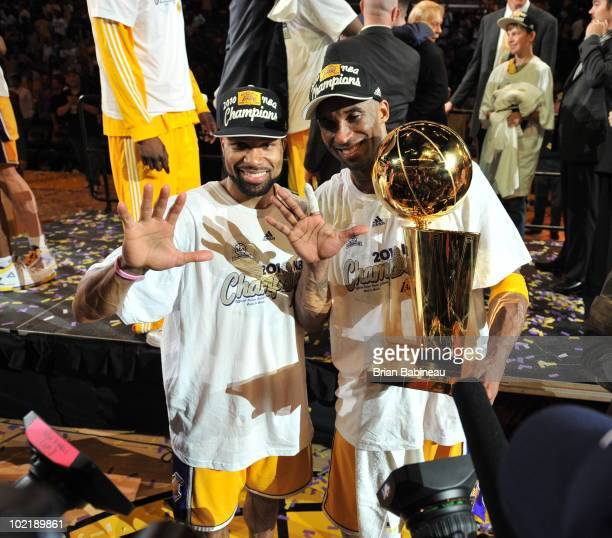 Derek Fisher and Kobe Bryant of the Los Angeles Lakers celebrate after defeating the Boston Celtics 8379 in Game Seven of the 2010 NBA Finals on June...
