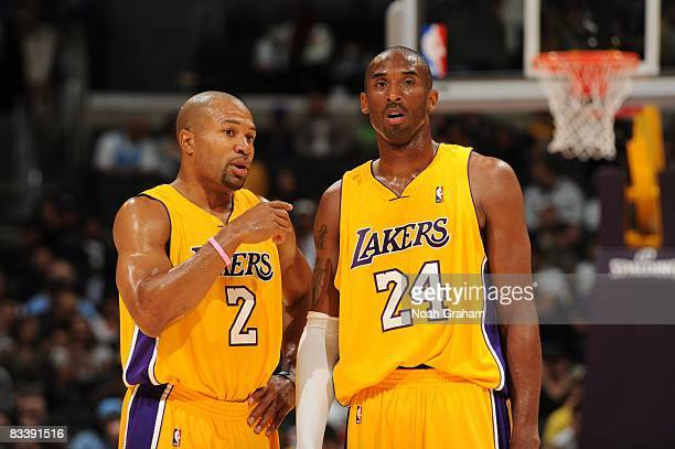 Derek Fisher and Kobe Bryant of the Los Angeles Lakers talk strategy during the game against Regal FC Barcelona at Staples Center on October 18 2008...