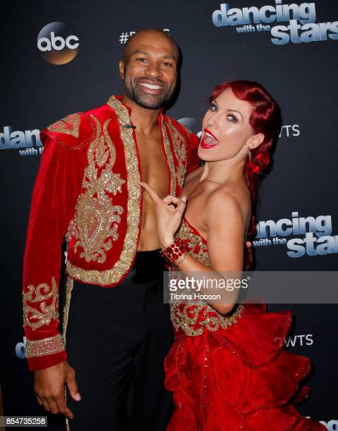 Derek Fisher and Sharna Burgess attend 'Dancing With The Stars' season 25 taping at CBS Televison City on September 26 2017 in Los Angeles California
