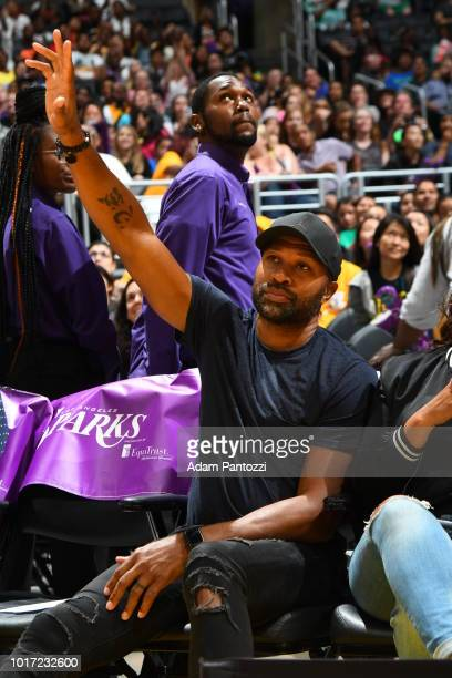 Derek Fisher attends the game between the Los Angeles Sparks and the Phoenix Mercury on August 5 2018 at The Staples Center in Los Angeles California...