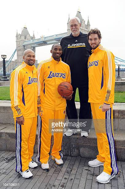 Derek Fisher Kobe Bryant Head Coach Phl Jackson and Pau Gasol of the Los Angeles Lakers pose for a Picture in front of the London Bridge on October 4...