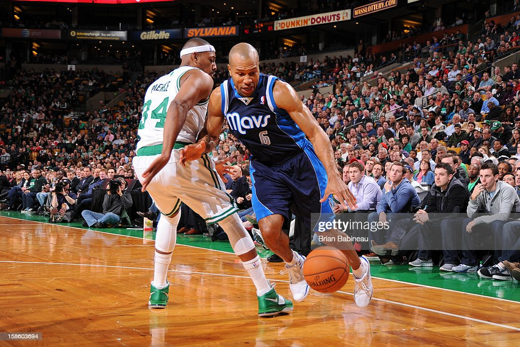 Derek Fisher #6 of the Dallas Mavericks drives to the basket against the Boston Celtics on December 12, 2012 at the TD Garden in Boston, Massachusetts.