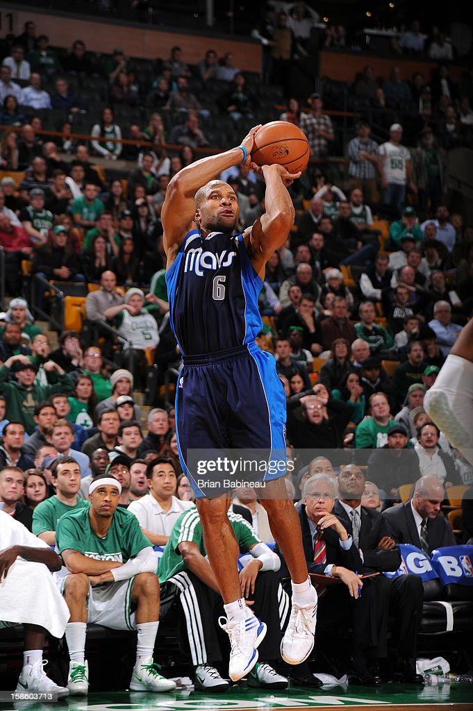 Derek Fisher #6 of the Dallas Mavericks takes a shot against the Boston Celtics on December 12, 2012 at the TD Garden in Boston, Massachusetts.