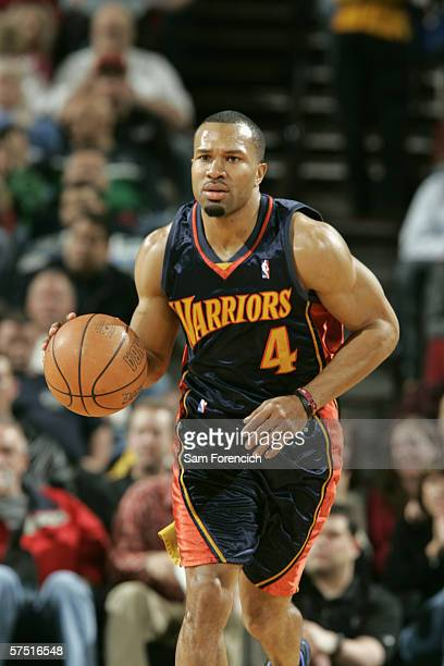 Derek Fisher of the Golden State Warriors drives against the Portland Trail Blazers during a game on April 15 2006 at the Rose Garden Arena in...