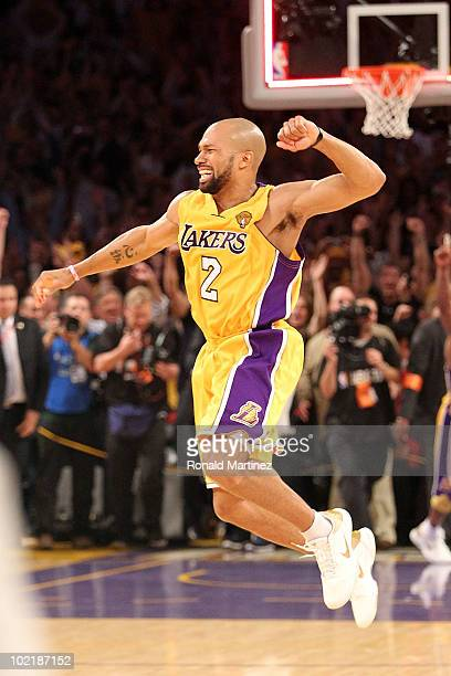 Derek Fisher of the Los Angeles Lakers celebrates after the Lakers defeated the Boston Celtics in Game Seven of the 2010 NBA Finals at Staples Center...