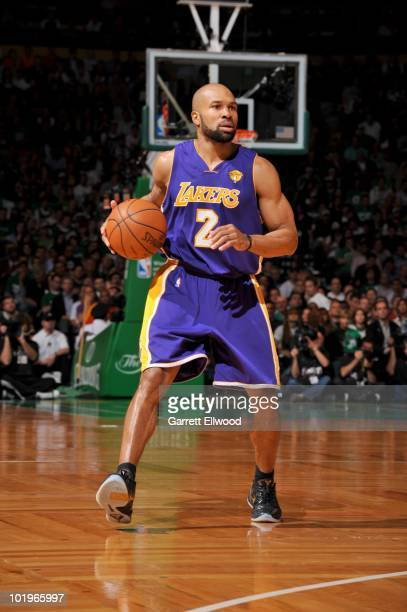 Derek Fisher of the Los Angeles lakers dribbles during Game Four of the 2010 NBA Finals on June 10 2010 at TD Garden in Boston Massachusetts NOTE TO...