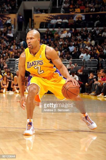 Derek Fisher of the Los Angeles Lakers handles the ball against the Memphis Grizzlies during the game on November 6 2009 at Staples Center in Los...