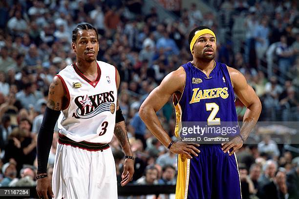 Derek Fisher of the Los Angeles Lakers matches up against Allen Iverson of the Philadelphia 76ers during game five of the 2001 NBA Finals at First...