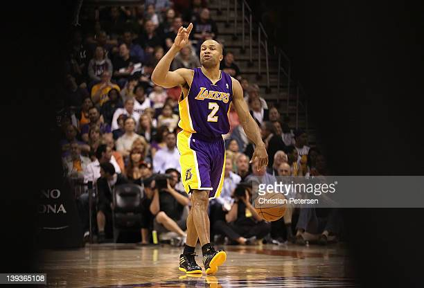 Derek Fisher of the Los Angeles Lakers moves the ball upcourt during the NBA game against the Phoenix Suns at US Airways Center on February 19 2012...