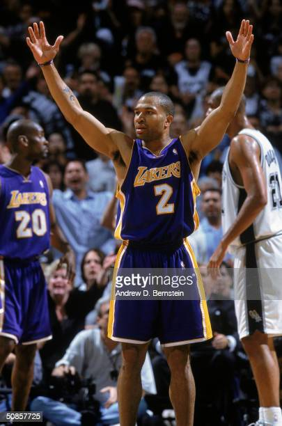 Derek Fisher of the Los Angeles Lakers reacts on the court in Game five of the Western Conference Semifinals against the San Antonio Spurs during the...