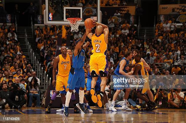 Derek Fisher of the Los Angeles Lakers shoots the ball against the Dallas Mavericks during Game One of the Western Conference Semifinals in the 2011...