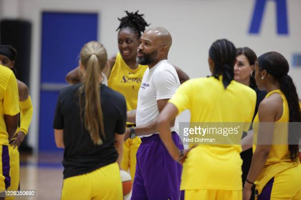 Derek Fisher of the Los Angeles Sparks talks with his players during practice on July 11, 2020 at IMG Academy in Bradenton, Florida. NOTE TO USER:...