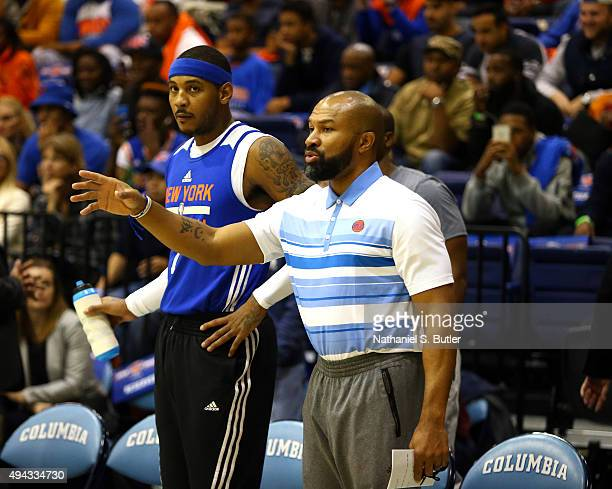 Derek Fisher of the New York Knicks during open practice on October 20 2015 at Columbia University in New York City NOTE TO USER User expressly...