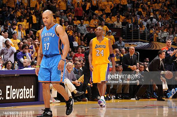 Derek Fisher of the Oklahoma City Thunder and Kobe Bryant of the Los Angeles Lakers look on during Game Three of the Western Conference Semifinals...