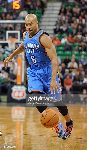 Derek Fisher of the Oklahoma City Thunder dribbles up court during their game against the Utah Jazz at EnergySolutions Arena October 30 2013 in Salt...
