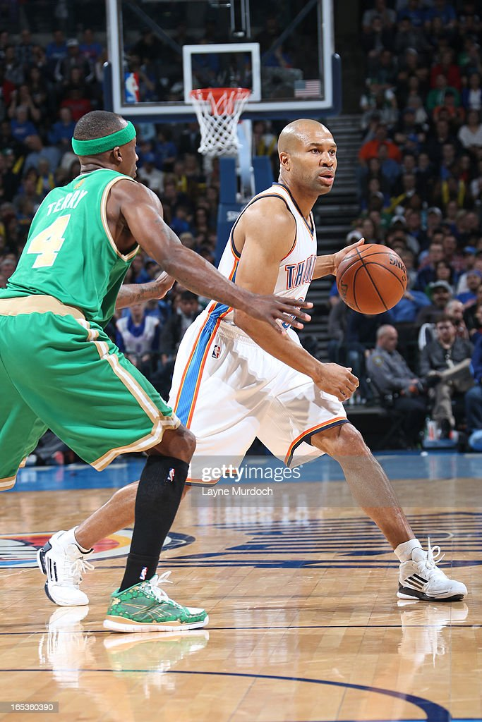 Derek Fisher #6 of the Oklahoma City Thunder looks to drive to the baskt against the Boston Celtics on March 10, 2013 at the Chesapeake Energy Arena in Oklahoma City, Oklahoma.