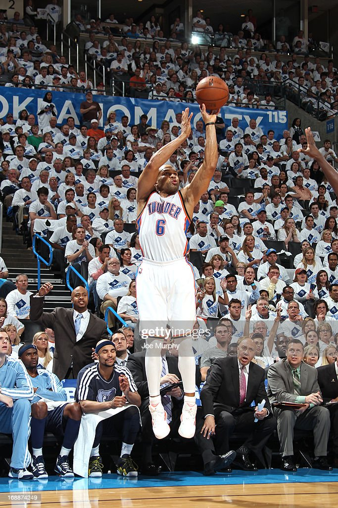 Derek Fisher #6 of the Oklahoma City Thunder shoots against the Memphis Grizzlies in Game Five of the Western Conference Semifinals during the 2013 NBA Playoffs on May 15, 2013 at the Chesapeake Energy Arena in Oklahoma City, Oklahoma.