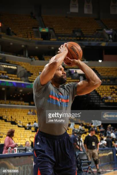 Derek Fisher of the Oklahoma City Thunder warms up prior to the game against the Memphis Grizzlies in Game Six of the Western Conference...