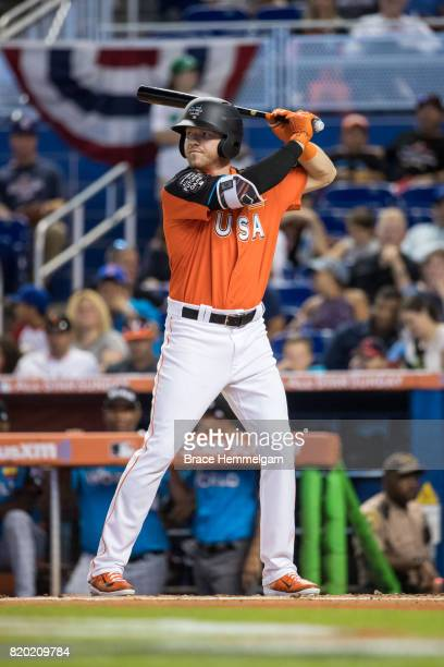 Derek Fisher of the US Team and Houston Astros bats during the SiriusXM AllStar Futures Game at Marlins Park on July 9 2017 in Miami Florida