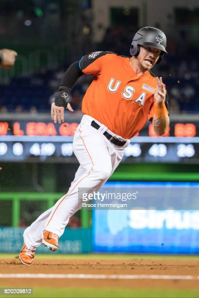 Derek Fisher of the US Team and Houston Astros runs during the SiriusXM AllStar Futures Game at Marlins Park on July 9 2017 in Miami Florida