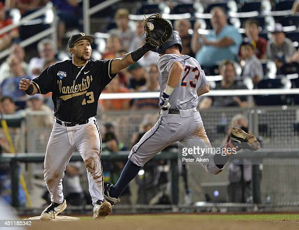 Derek Fisher of the Virginia Cavaliers is forced out at first base by Zander Wiel of the Vanderbilt Commodores in the ninth inning during game two of...